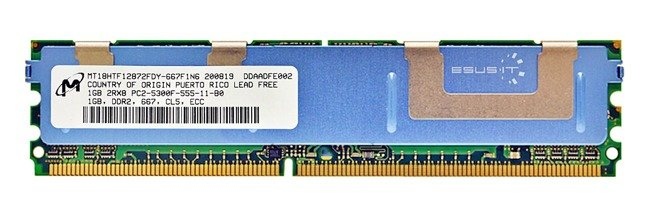Memory RAM 1x 1GB Micron ECC FULLY BUFFERED DDR2 667MHz PC2-5300 FBDIMM | MT18HTF12872FDY-667F1N6