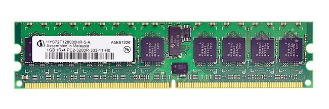 Memory RAM 1x 1GB QIMONDA ECC REGISTERED DDR2  400MHz PC2-3200 RDIMM | HYS72T128000HR-5-A