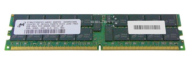 Memory RAM 1x 2GB Micron ECC REGISTERED DDR2  400MHz PC2-3200 RDIMM | MT36HTF25672Y-40EB1
